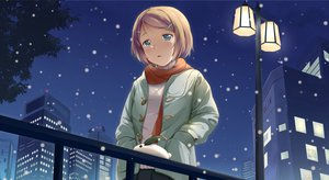 Rating: Safe Score: 73 Tags: blonde_hair building green_eyes kagamine_rin kotobamaru night scarf short_hair snow vocaloid User: 秀悟