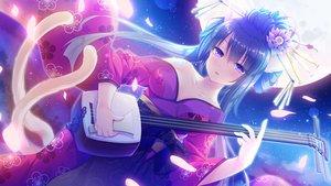 Rating: Safe Score: 40 Tags: catgirl game_cg instrument japanese_clothes koneko_neko_neko long_hair moon multiple_tails night petals purple_eyes skyfish stars tagme_(artist) tagme_(character) tail yukata User: C4R10Z123GT