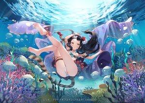 Rating: Safe Score: 66 Tags: animal barefoot black_hair braids brown_eyes fish long_hair red:_pride_of_eden shinia tagme_(character) tail underwater water User: BattlequeenYume