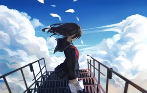 Rating: Safe Score: 202 Tags: black_hair book clouds levi9452 long_hair original paper seifuku skirt sky stairs User: Flandre93