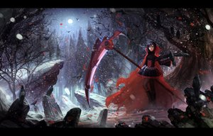 Rating: Safe Score: 259 Tags: animal bird black_hair boots cape cross dress forest moon pantyhose red_hair ruby_rose rwby scythe short_hair snow tree weapon zi_ye_(hbptcsg2) User: SciFi