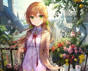 Rating: Safe Score: 385 Tags: blonde_hair building butterfly city cropped drink flowers green_eyes kyouya_kakehi naked_shirt nopan original petals waifu2x User: mattiasc02
