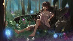 Rating: Safe Score: 60 Tags: barefoot brown_hair dragon flowers forest grass how_to_train_your_dragon original red_eyes septet_(zrca_janne) shade shorts toothless tree User: Flandre93