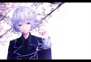 Rating: Safe Score: 120 Tags: all_male cherry_blossoms honebami_toshiro male mokoppe purple_eyes short_hair tie touken_ranbu uniform white white_hair User: otaku_emmy