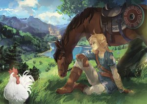 Rating: Safe Score: 25 Tags: all_male animal aqua_eyes bird blonde_hair boots building epona gloves grass horse landscape link_(zelda) male pointed_ears ponytail ram_(moekki) scenic the_legend_of_zelda tree User: otaku_emmy
