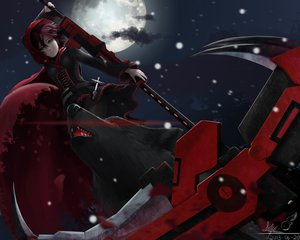 Rating: Safe Score: 287 Tags: animal boots cape cross gray_eyes lepus moon pantyhose petals red_hair ruby_rose rwby scythe short_hair signed snow weapon wolf User: SciFi