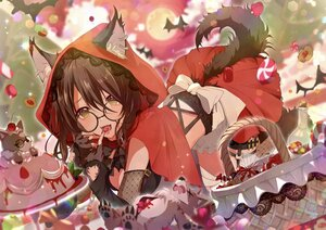 Rating: Safe Score: 35 Tags: animal animal_ears bat blush breasts brown_eyes brown_hair cake candy cape chain cherry cleavage collar cosplay elbow_gloves fang food fruit garter glasses gloves halloween hoodie light_up little_red_riding_hood moon peach_punch skirt strawberry tail wolfgirl yuzuki_uru User: BattlequeenYume