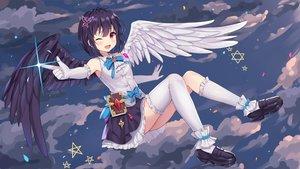 Rating: Safe Score: 80 Tags: angel black_hair clouds elbow_gloves gloves hokori_sakuni kneehighs original red_eyes short_hair skirt sky stars thighhighs wings wink User: Dreista