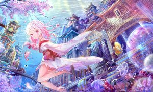 Rating: Safe Score: 93 Tags: animal anthropomorphism barefoot blush bow bubbles building cherry_blossoms fish japanese_clothes kimono loli long_hair peas pink_eyes pink_hair sergestid_shrimp_in_tungkang tree underwater water watermark xuan_ying User: BattlequeenYume
