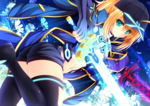 Rating: Safe Score: 48 Tags: ass blonde_hair fate/grand_order fate_(series) flat_chest green_eyes heroine_x navel ponytail shorts sword tagme_(artist) weapon User: luckyluna