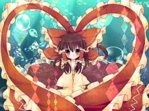 Rating: Safe Score: 52 Tags: blush bow braids brown_hair bubbles hakurei_reimu heart long_hair pukichan18 red_eyes touhou underwater User: ガラス
