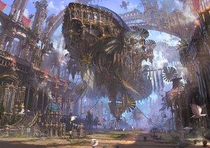 Rating: Safe Score: 479 Tags: airship animal bird building city clouds original reishin_(tenpurasoba) scenic stairs User: RyuZU