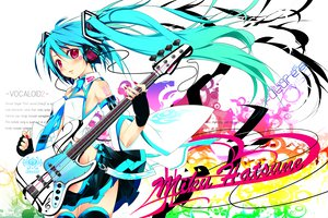 Rating: Safe Score: 79 Tags: guitar hatsune_miku headphones instrument pink_eyes tie twintails vocaloid User: rargy