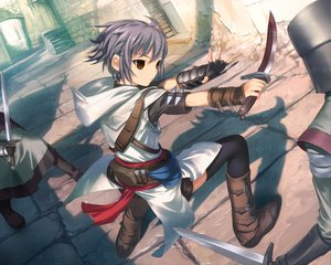 Rating: Safe Score: 208 Tags: armor assassin's_creed blood boots brown_eyes knife nagato_yuki parody purple_hair short_hair suzumiya_haruhi_no_yuutsu sword uni weapon User: maniack