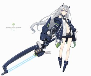 Rating: Safe Score: 3 Tags: boots flat_chest gray_hair hoodie horns long_hair navel original poco purple_eyes shorts techgirl weapon white User: otaku_emmy