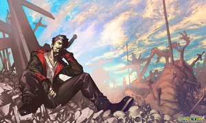 Rating: Safe Score: 149 Tags: all_male black_hair bones boots capcom clouds cross dante devil_may_cry gloves gun logo male necklace red_eyes ruins short_hair skull sky tomoyuki_kotani weapon white_hair User: STORM