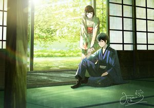 Rating: Safe Score: 10 Tags: animal bird black_eyes black_hair fusui japanese_clothes kimono male original short_hair signed User: RyuZU