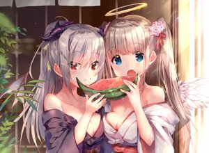 Rating: Safe Score: 101 Tags: 2girls angel blue_eyes blush breasts brown_hair cleavage cropped demon fang food fruit gray_hair halo horns japanese_clothes long_hair original ponytail red_eyes twintails usagihime watermelon wings yukata User: otaku_emmy