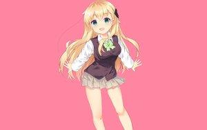 Rating: Safe Score: 50 Tags: blonde_hair blush bow dera_ix gamers! green_eyes long_hair photoshop pink seifuku skirt tendou_karen User: RyuZU