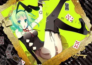 Rating: Safe Score: 60 Tags: animal_ears bunny_ears bunnygirl chain elbow_gloves green_eyes green_hair gumi handcuffs ribbons temari_(deae) thighhighs vocaloid User: opai