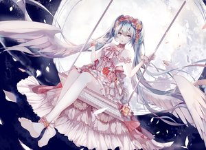 Rating: Safe Score: 147 Tags: amatsukiryoyu barefoot blue_eyes blue_hair clouds dress flowers hatsune_miku long_hair moon night petals sky twintails vocaloid wings User: Flandre93