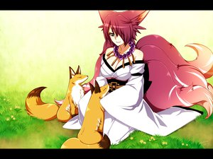 Rating: Safe Score: 97 Tags: animal animal_ears blue_eyes breasts cleavage foxgirl konshin multiple_tails original red_hair tail User: SciFi