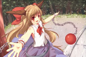 Rating: Safe Score: 27 Tags: aruu_(memories) blonde_hair dress horns ibuki_suika ribbons touhou User: gnarf1975