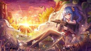 Rating: Safe Score: 44 Tags: animal bird blue_hair clouds grass gun hayun red_eyes ruins shorts sky sunset twintails weapon User: BattlequeenYume