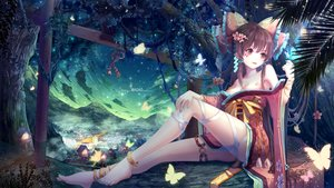 Rating: Safe Score: 178 Tags: barefoot butterfly clouds hakurei_reimu japanese_clothes long_hair maoao sky torii touhou watermark User: BattlequeenYume