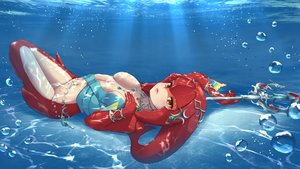 Rating: Safe Score: 72 Tags: breasts bubbles navel necklace orange_eyes princess_mipha ruby_suguri spear the_legend_of_zelda underwater water weapon wristwear User: otaku_emmy