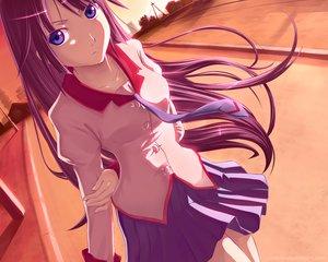 Rating: Safe Score: 64 Tags: atomix bakemonogatari long_hair monogatari_(series) purple_eyes purple_hair school_uniform senjougahara_hitagi skirt tie watermark User: RyuZU