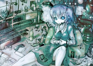 Rating: Safe Score: 64 Tags: blue blue_eyes blue_hair dress drink game_console glasses headphones industrial kawashiro_nitori microphone paper sibanoue touhou translation_request User: PAIIS