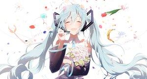Rating: Safe Score: 59 Tags: blue_hair flowers hatsune_miku long_hair microphone sena_tea29 tie twintails vocaloid User: FormX