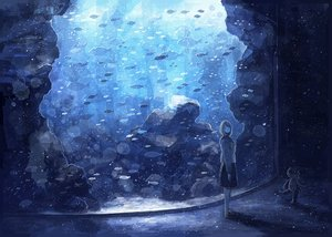 Rating: Safe Score: 122 Tags: animal blue fish monochrome nomiya_(no_38) original school_uniform skirt teddy_bear User: Flandre93