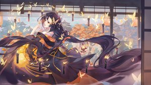Rating: Safe Score: 122 Tags: black_hair butterfly criin_(659503) fire japanese_clothes kimono long_hair magic original red_eyes watermark User: Nepcoheart