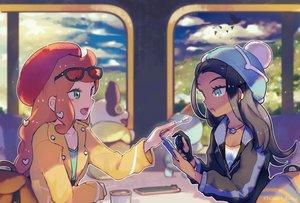 Rating: Safe Score: 44 Tags: 2girls chewtle food hat inaeda_kei phone pokemon rurina_(pokemon) sonia_(pokemon) watermark yamper User: FormX