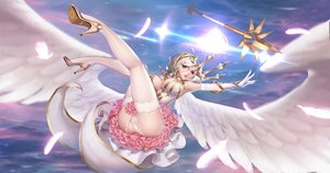 Rating: Questionable Score: 57 Tags: ass blonde_hair blue_eyes cameltoe clouds dress elbow_gloves feathers gloves league_of_legends luxanna_crownguard panties rhasta short_hair signed sky thighhighs underwear weapon wings User: BattlequeenYume