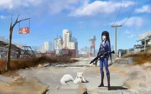 Rating: Safe Score: 135 Tags: akemi_homura animal black_hair blackrabbitsoul boots building cat city clouds crossover dress fallout fallout_4 gun industrial kaname_madoka kyuubee long_hair mahou_shoujo_madoka_magica red_eyes red_hair ruins skintight sky tree twintails weapon yellow_eyes User: Flandre93