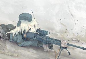 Rating: Safe Score: 123 Tags: gray gun hat kantai_collection nao_(qqqbb) u-511_(kancolle) uniform weapon white_hair User: Flandre93