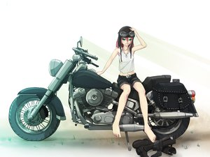 Rating: Safe Score: 61 Tags: barefoot blue_eyes boots el-f goggles motorcycle necklace pink_hair shorts white User: RoronoAxMihawK