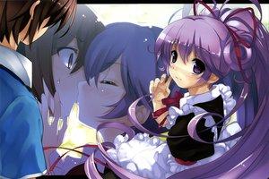 Rating: Safe Score: 39 Tags: blush boku_to_kanojo_ni_furuyoru kiss misaki_kurehito purple_eyes purple_hair scan User: Wiresetc