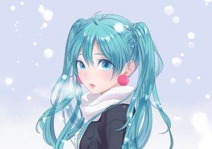 Rating: Safe Score: 52 Tags: aqua_eyes aqua_hair close hatsune_miku long_hair scarf snow tagme_(artist) twintails vocaloid winter User: luckyluna