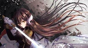 Rating: Safe Score: 42 Tags: aliasing anthropomorphism azur_lane brown_hair gloves long_hair mikasa_(azur_lane) sword tagme_(artist) uniform weapon yellow_eyes User: BattlequeenYume