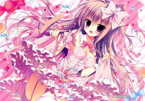 Rating: Safe Score: 120 Tags: animal_ears bow breasts candy catgirl cleavage collar dress hasune purple_eyes scan tail User: humanpinka
