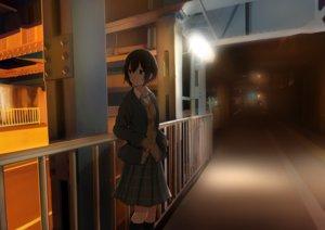 Rating: Safe Score: 12 Tags: black_hair brown_eyes building kneehighs night original sakeharasu scenic seifuku short_hair skirt User: RyuZU