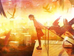 Rating: Safe Score: 32 Tags: animal bird feathers iwakura_lain nakamura_yukihiro serial_experiments_lain sunset User: FormX