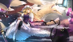 Rating: Safe Score: 136 Tags: animal bell blonde_hair cat chen dress flowers hat katana kikivi long_hair multiple_tails socks sword tail touhou umbrella weapon yakumo_ran yakumo_yukari yellow_eyes User: Flandre93