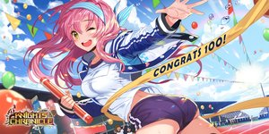 Rating: Safe Score: 55 Tags: ass blush clouds empew gym_uniform headband jpeg_artifacts knights_chronicle logo long_hair pink_hair shorts sky tagme_(character) wink yellow_eyes User: BattlequeenYume