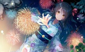 Rating: Safe Score: 57 Tags: animal black_hair fireworks fish japanese_clothes long_hair nonono orange_eyes original reflection ribbons water yukata User: RyuZU
