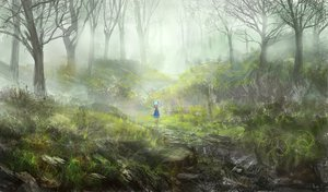 Rating: Safe Score: 244 Tags: cirno dress fairy forest lm7_(op-center) scenic touhou tree water wings User: opai